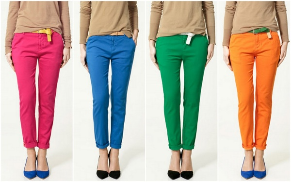 Bright Colored Pants, Zara Colored Pants, Color Blocking